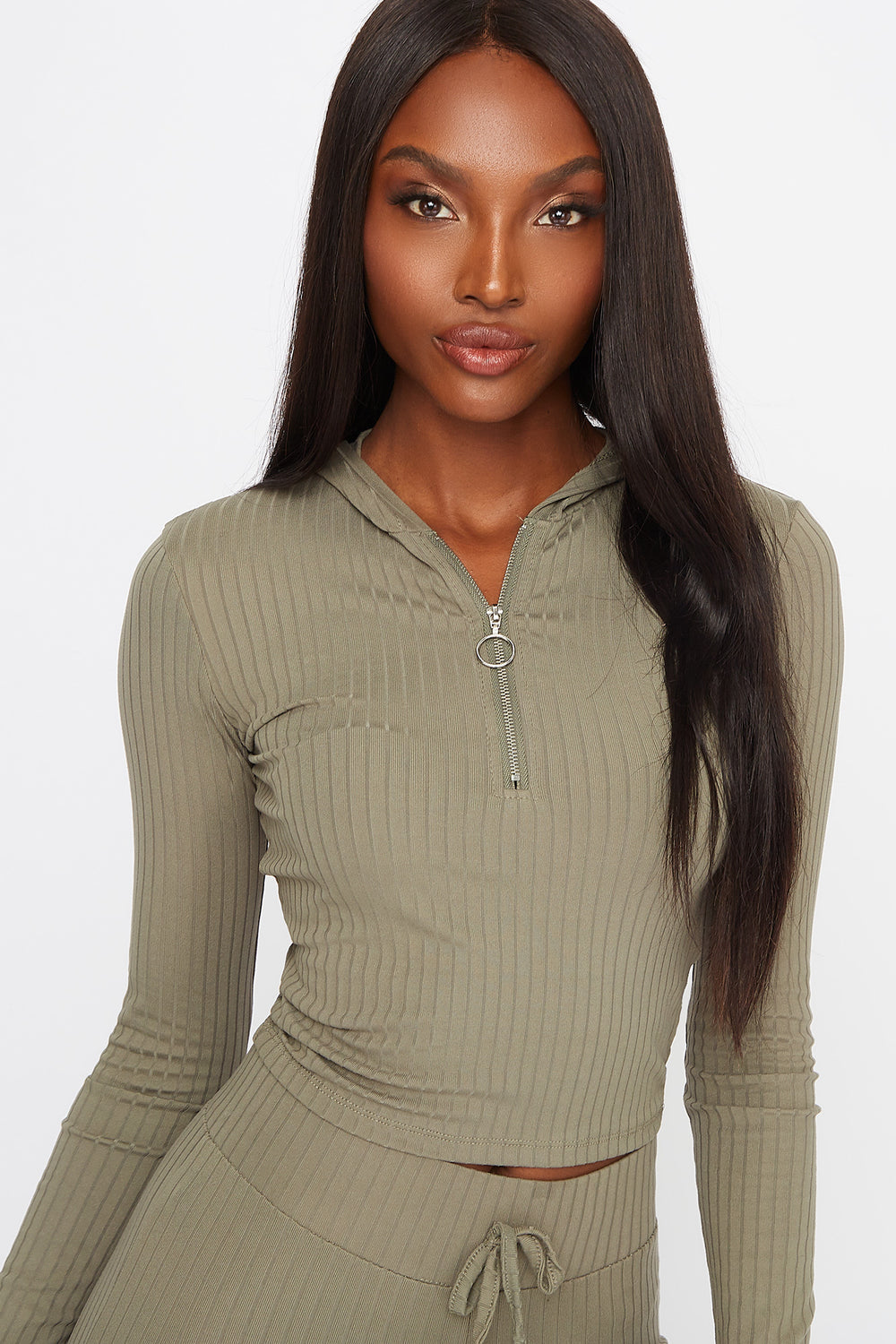 Soft Ribbed Quarter Zip Cropped Hooded Long Sleeve Dark Green