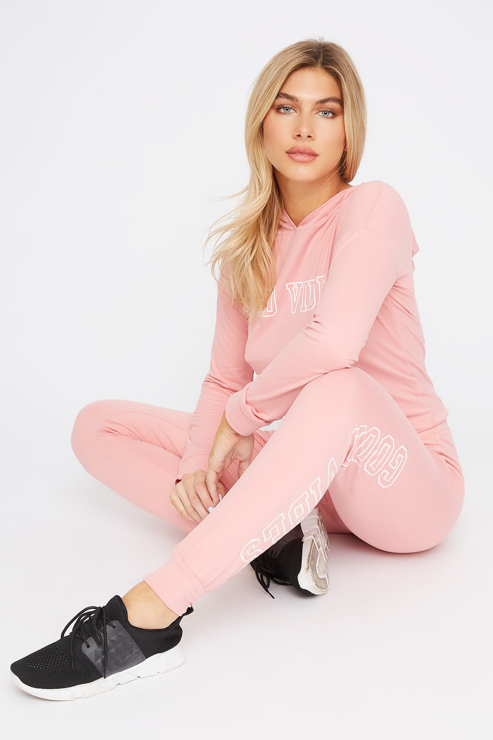Soft Graphic Drawstring Long Sleeve Pink