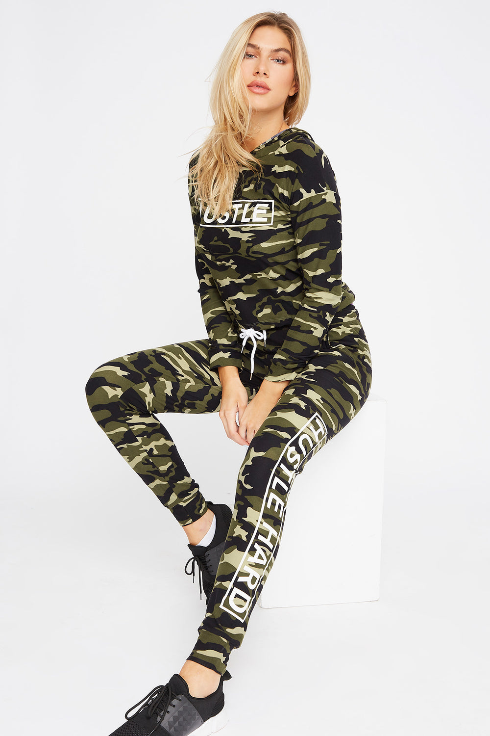 Soft Graphic Drawstring Long Sleeve Camouflage