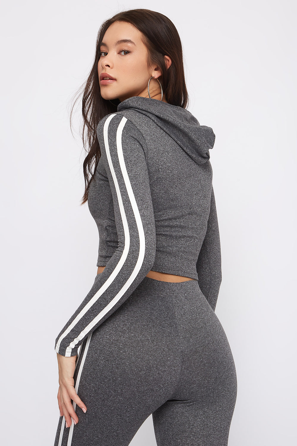 Fleece Side Stripe Hoodie Heather Grey