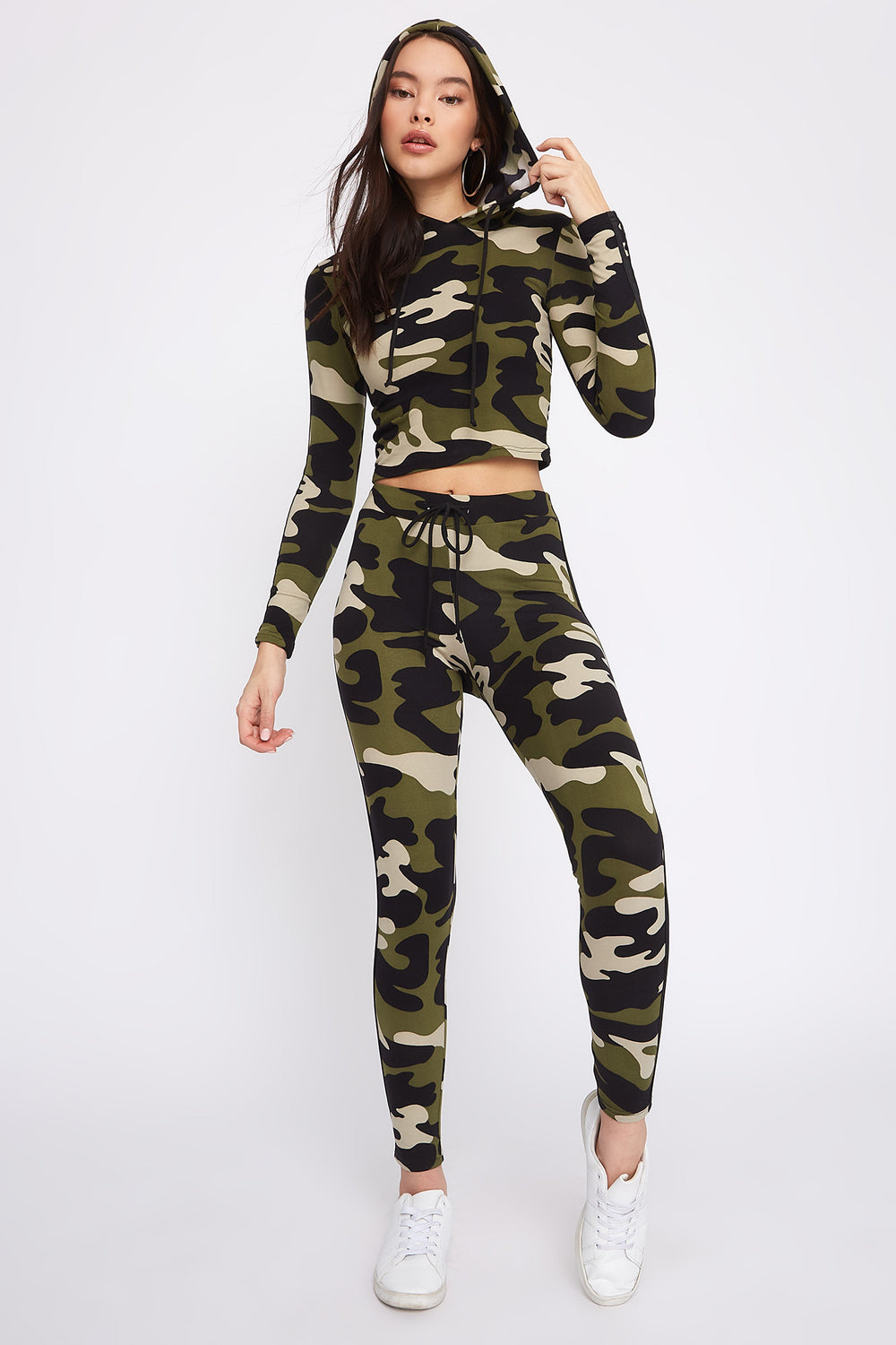 Fleece Side Stripe Hoodie Camouflage