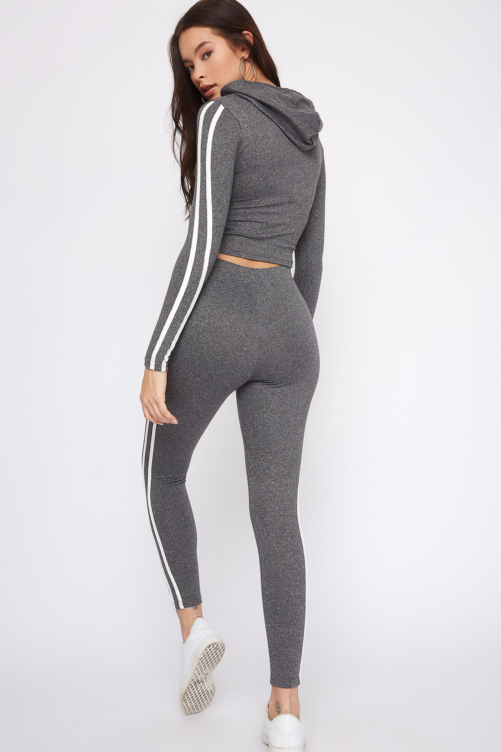 Fleece Side Stripe Legging Heather Grey