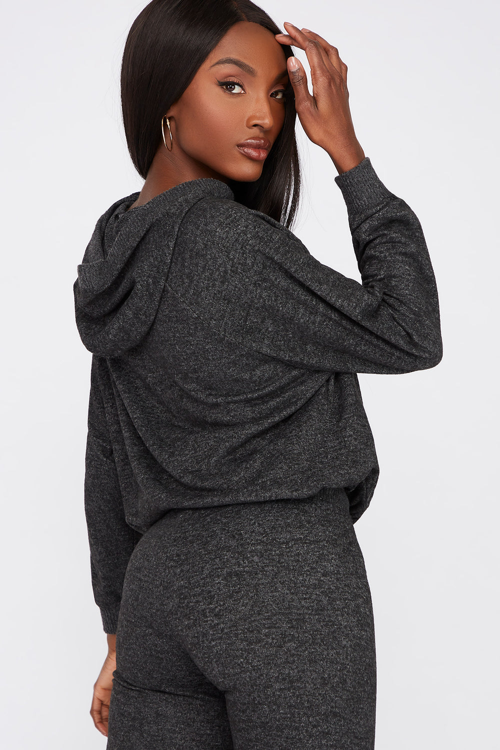 Soft Brushed Hooded Drawcord Sweater Charcoal