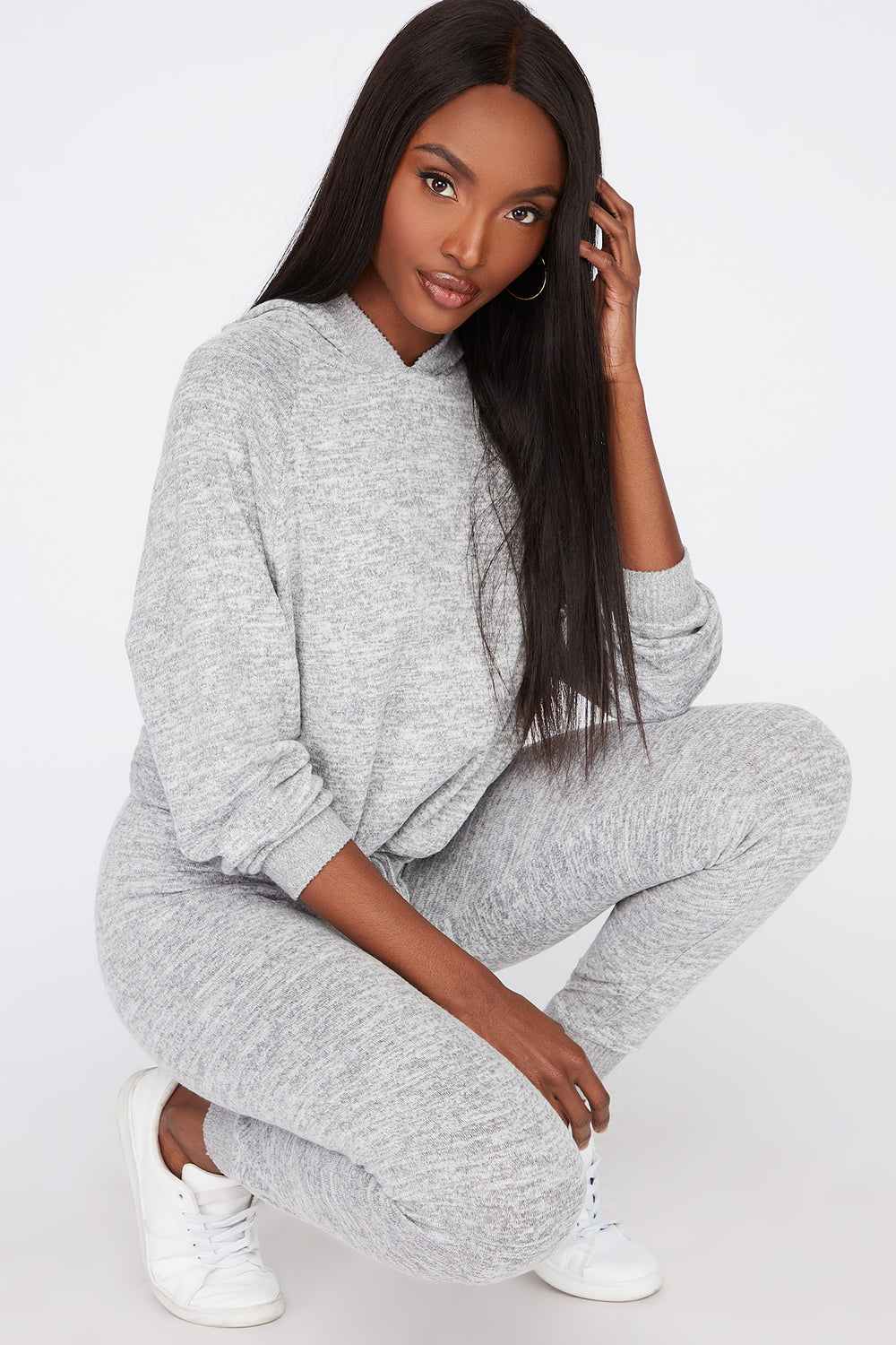 Soft Brushed Hooded Drawcord Sweater Heather Grey