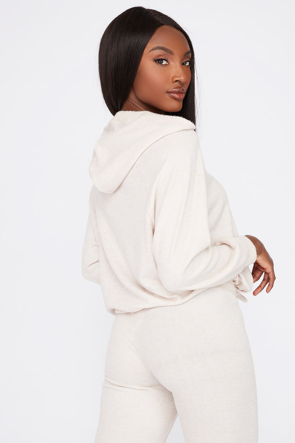 Soft Brushed Hooded Drawcord Sweater Oatmeal