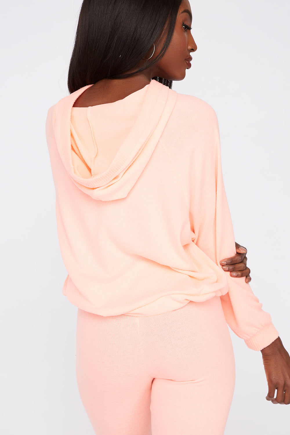 Soft Brushed Hooded Drawcord Sweater Neon Pink