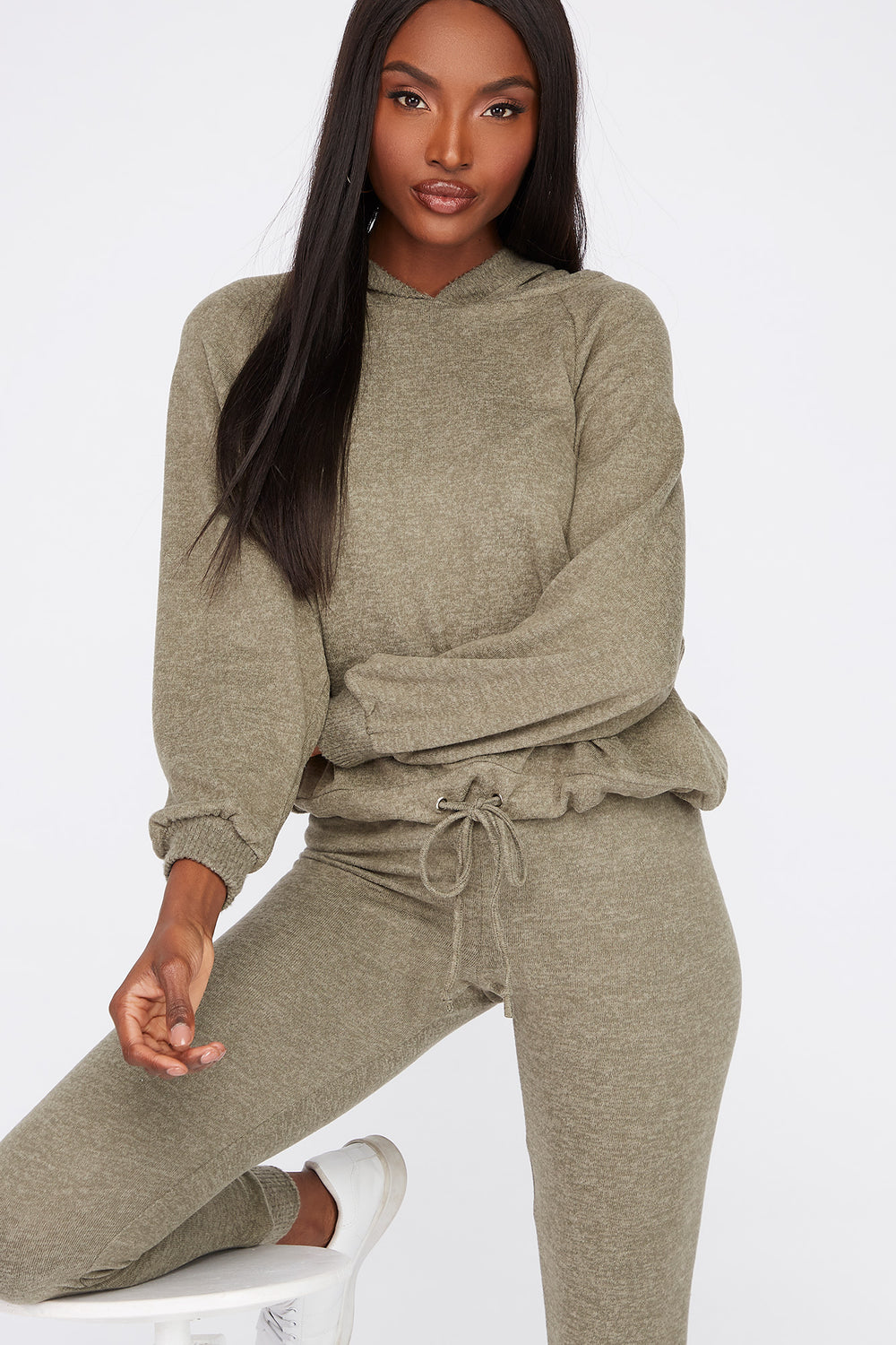 Soft Brushed Hooded Drawcord Sweater Dark Green