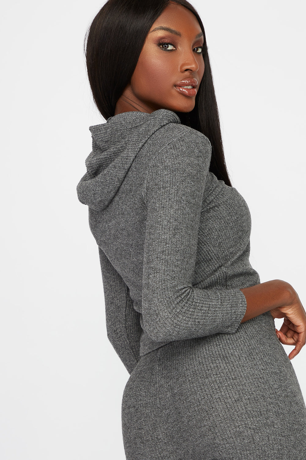 Soft Ribbed Lightweight Hoodie Charcoal