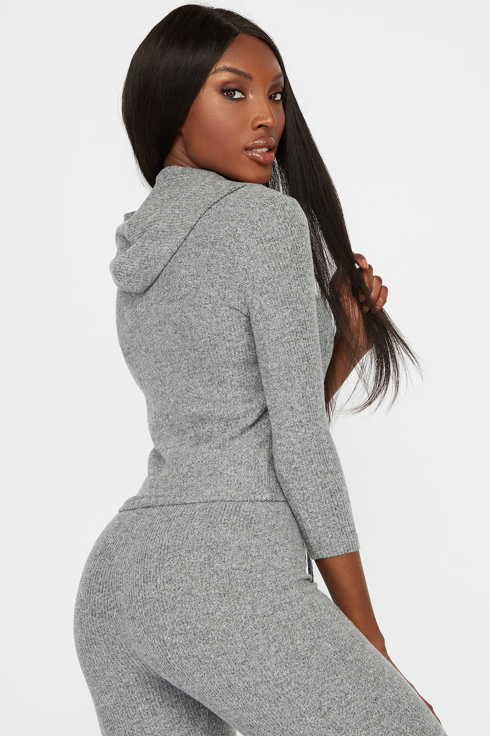 Soft Ribbed Lightweight Hoodie Heather Grey