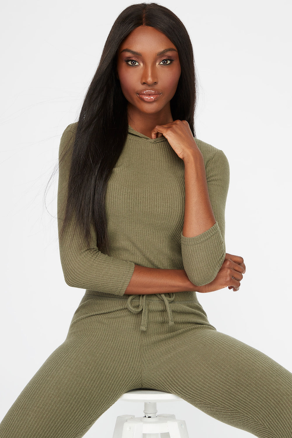Soft Ribbed Lightweight Hoodie Dark Green