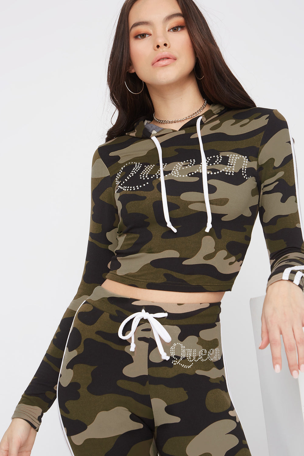 Graphic Rhinestone Hooded Long Sleeve Camouflage