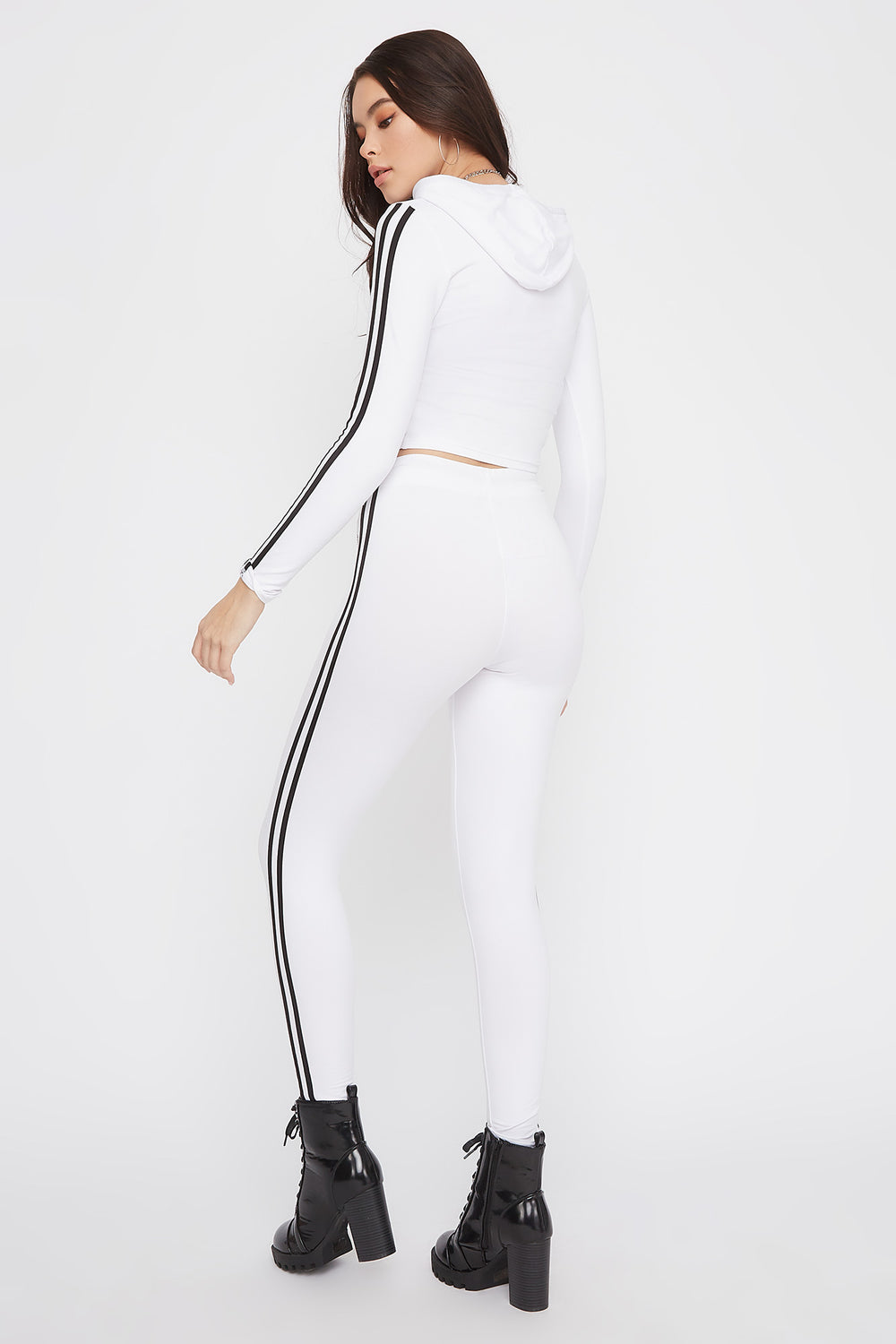 Graphic Rhinestone Side Stripe Legging White
