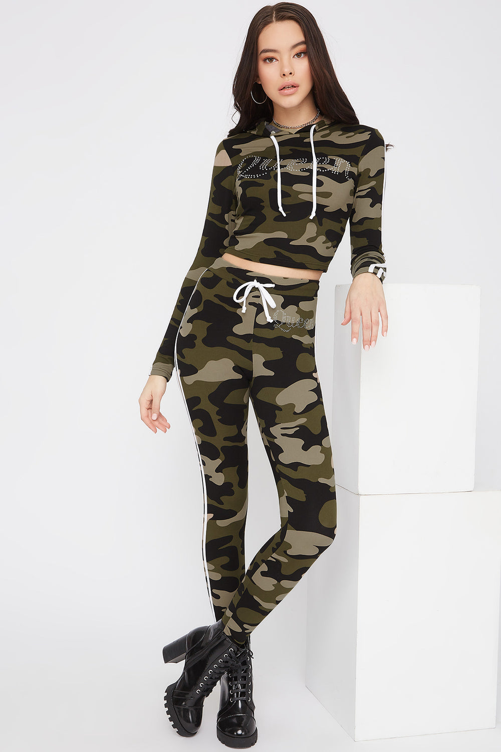 Graphic Rhinestone Side Stripe Legging Camouflage