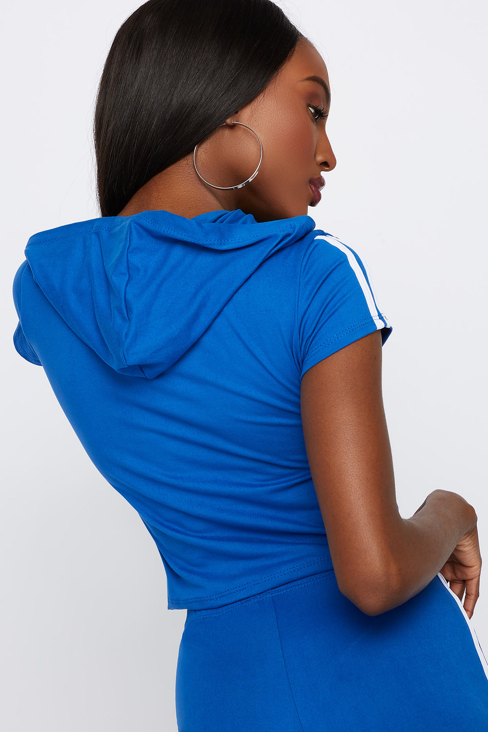 Hooded Side Stripe Cropped T-Shirt Royal Blue