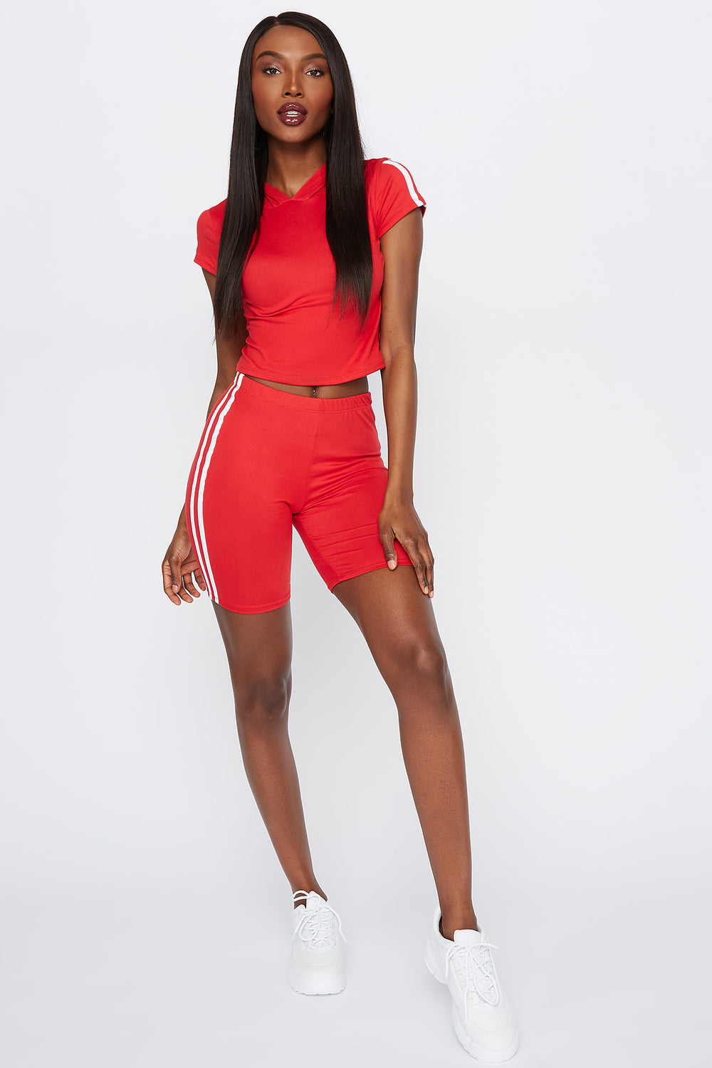 Hooded Side Stripe Cropped T-Shirt Bright Red