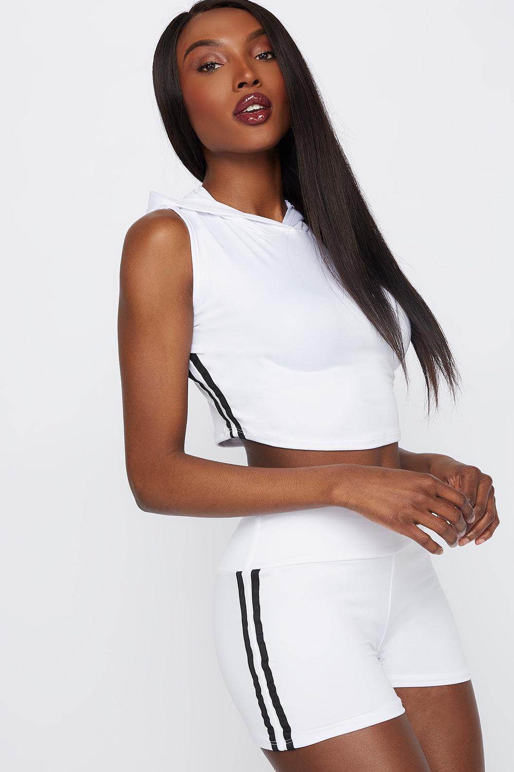 Hooded Side Stripe Cropped Tank White