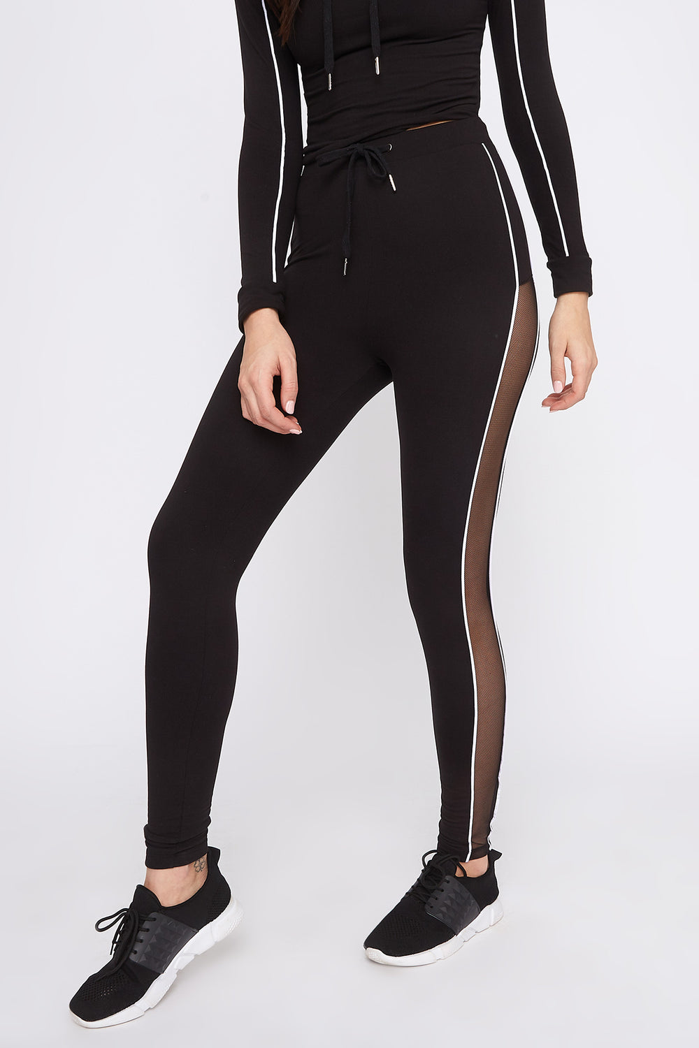 Fleece Mesh Cut-Out Legging Black