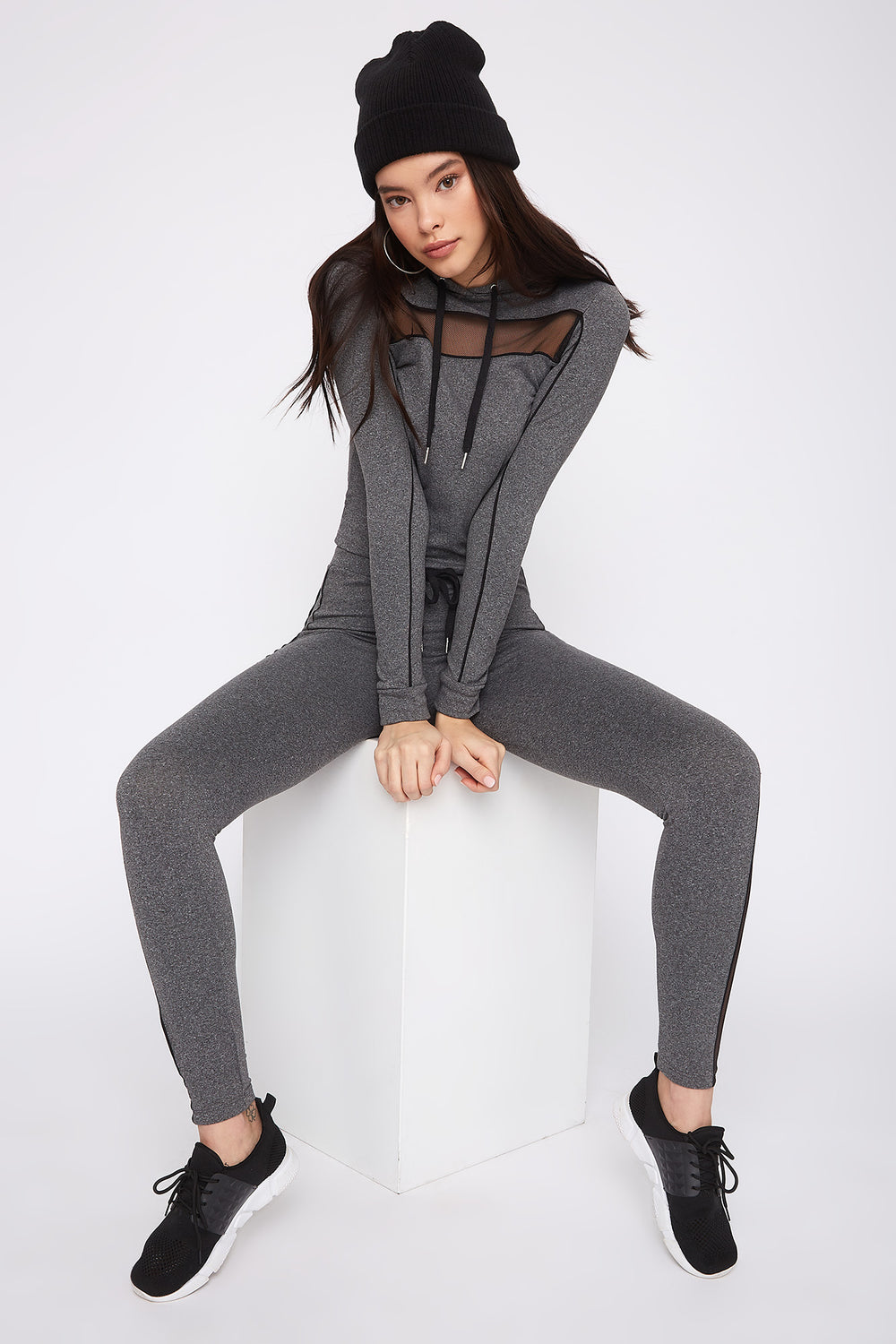 Fleece Mesh Cut-Out Legging Heather Grey