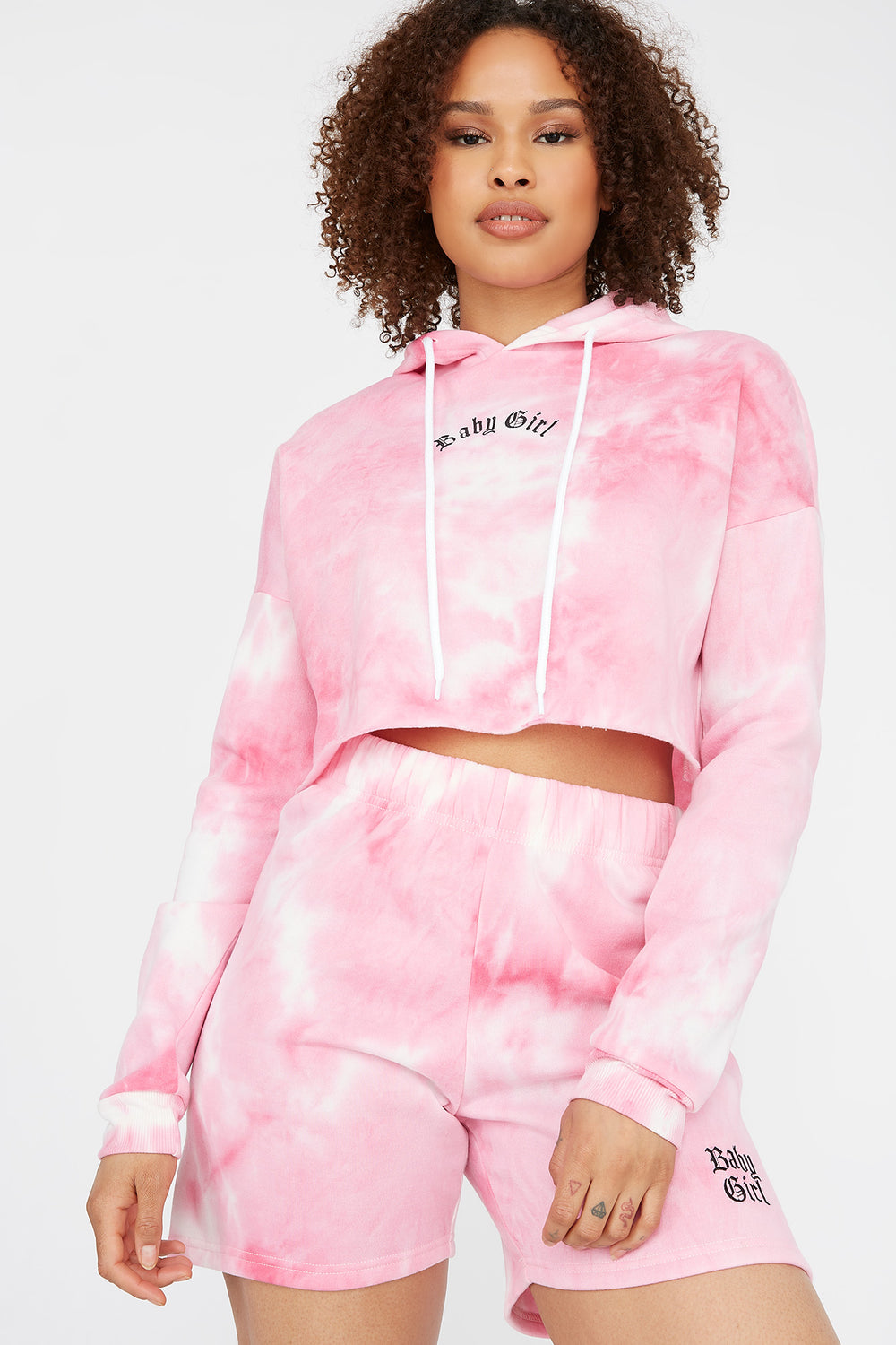 Fleece Graphic Raw Hem Cropped Hoodie Pink