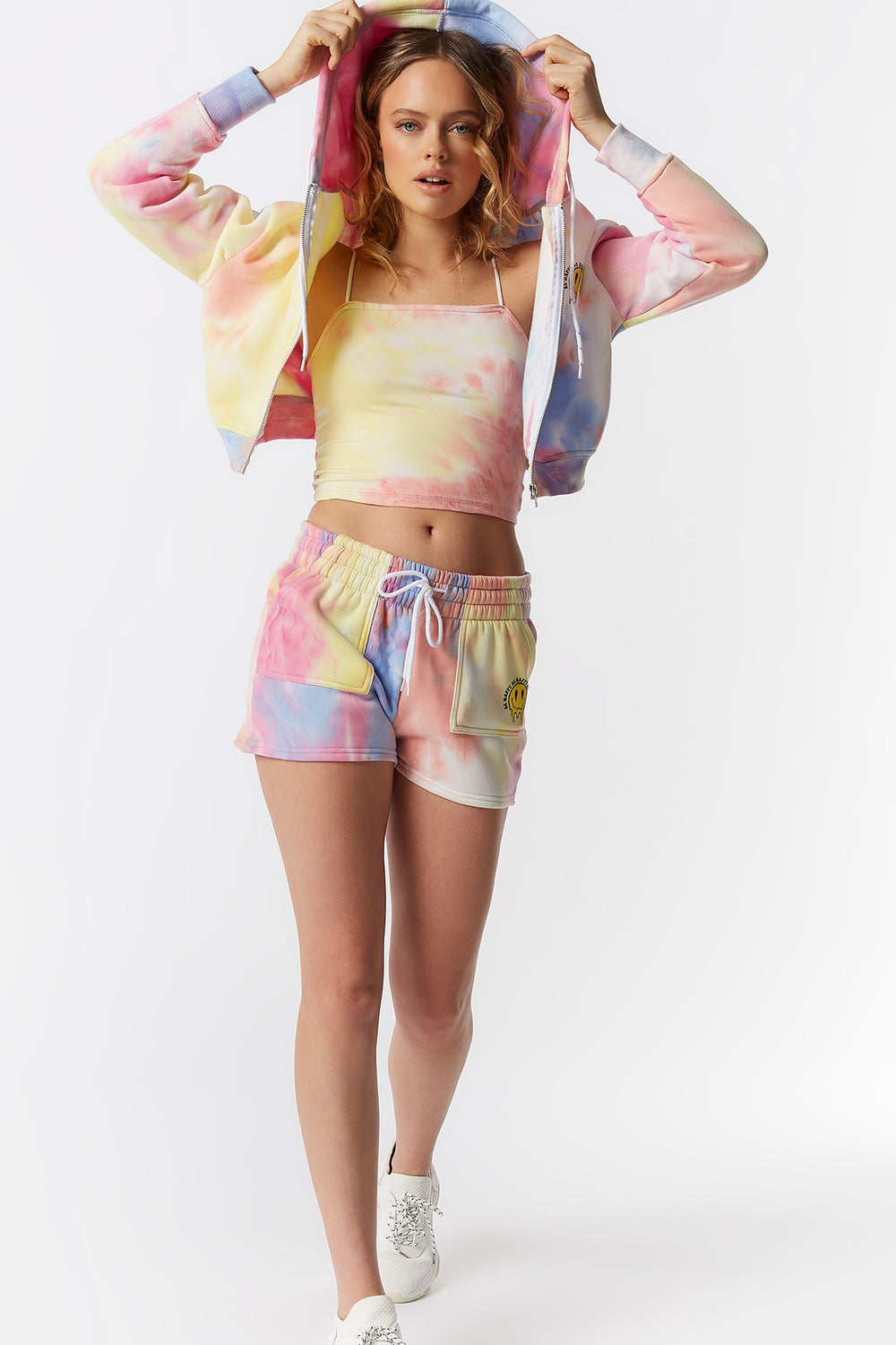 Soft Fleece Tie-Dye Be Happy Graphic Cropped Zip-Up Hoodie Multi