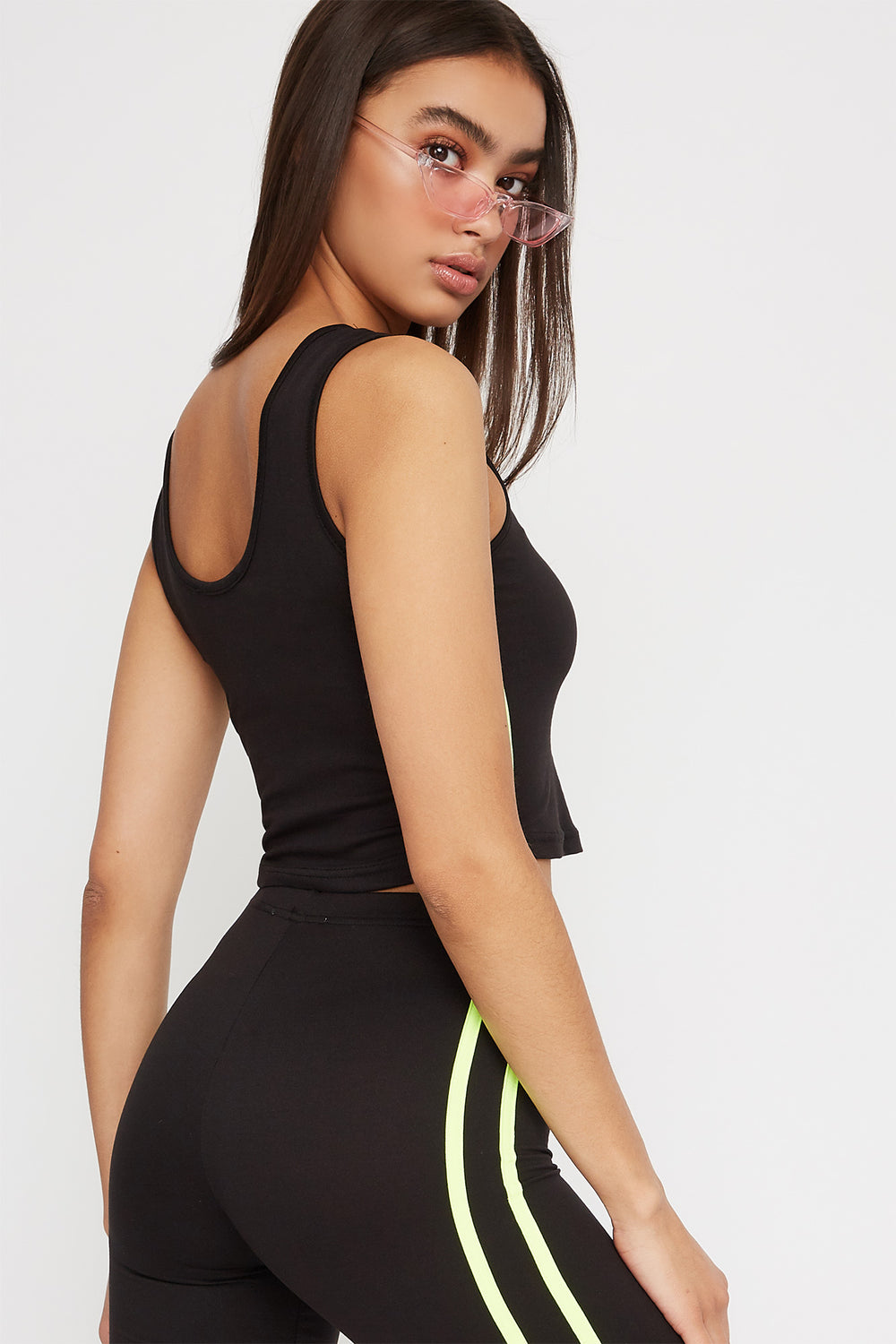 Neon Stripe Zip Cropped Tank Black