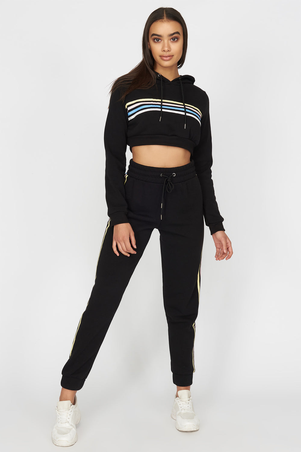Tricolour Striped Cropped Hoodie Black