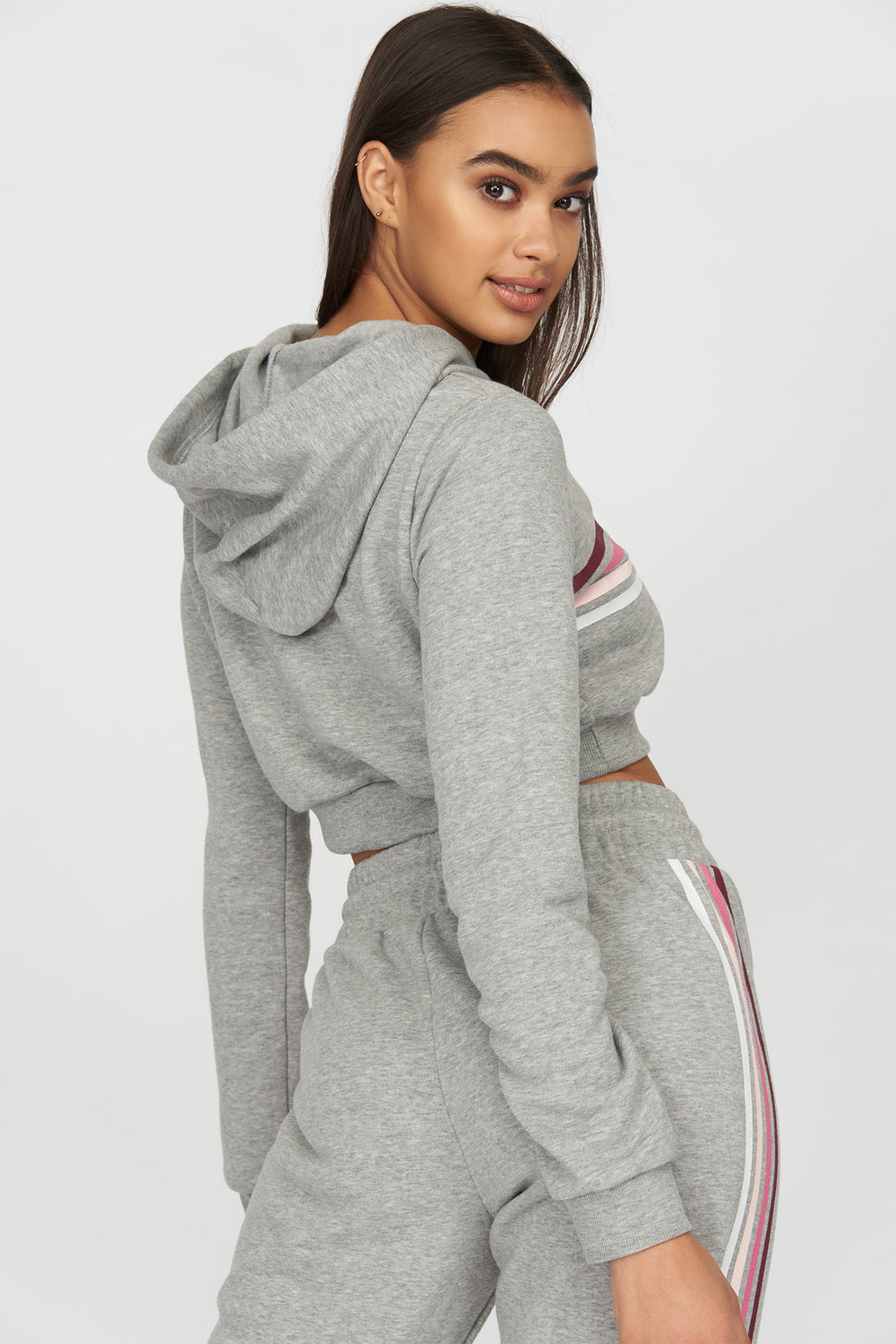 Tricolour Striped Cropped Hoodie Heather Grey