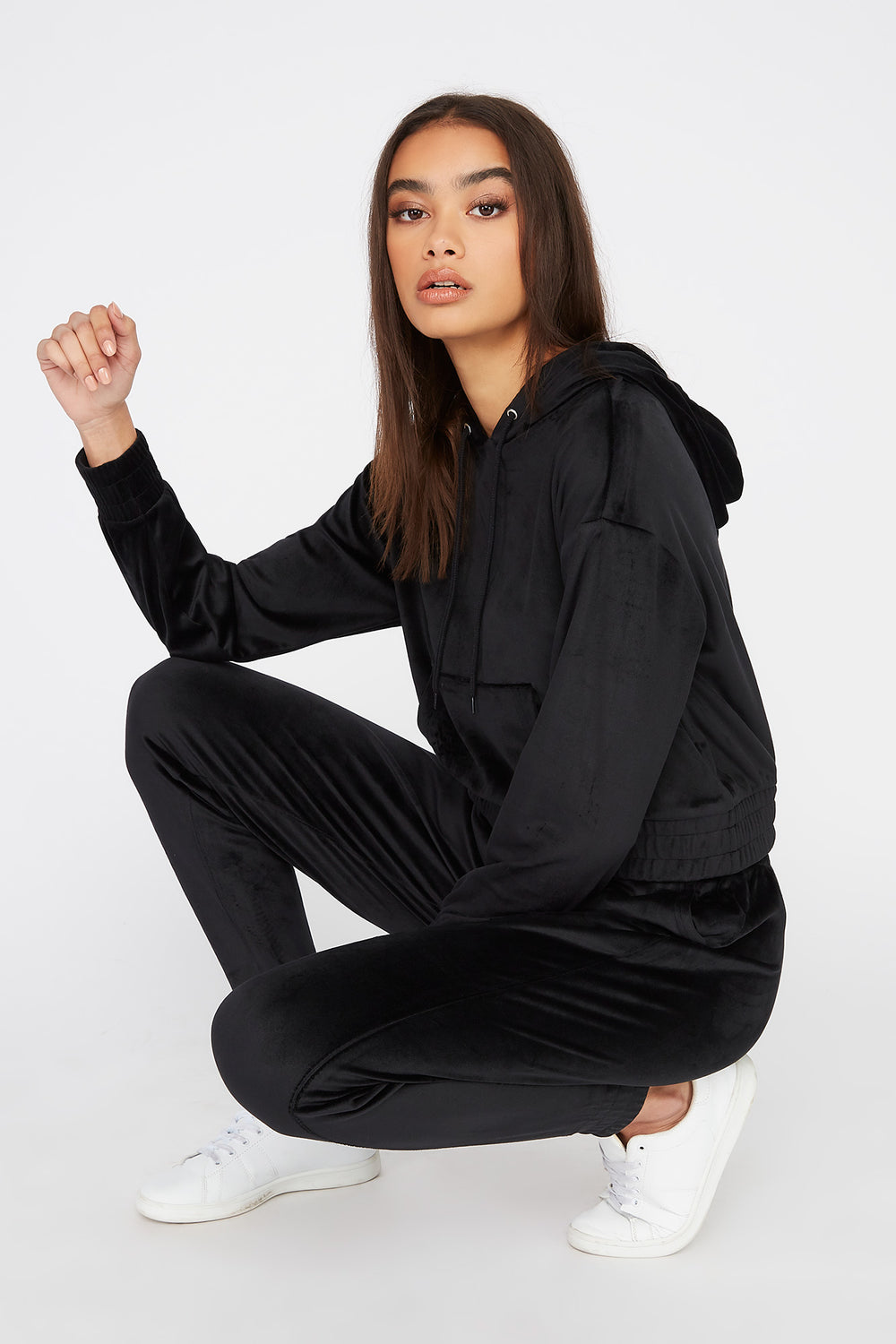 Super Soft Velour Hoodie Black