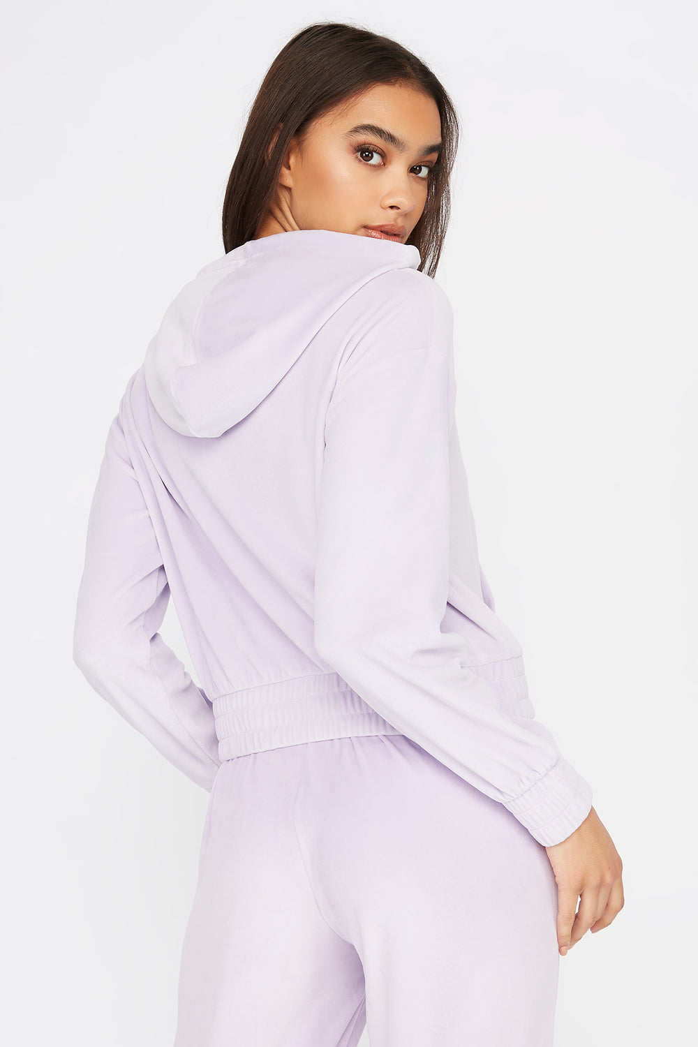 Super Soft Velour Hoodie Lilac