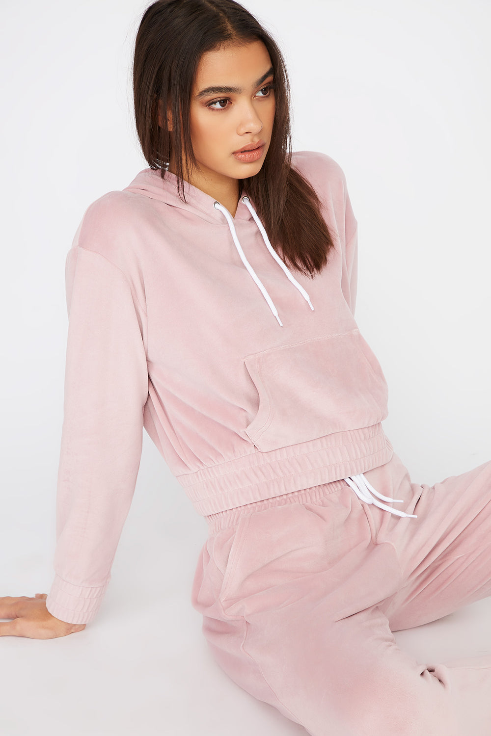 Super Soft Velour Hoodie Light Pink
