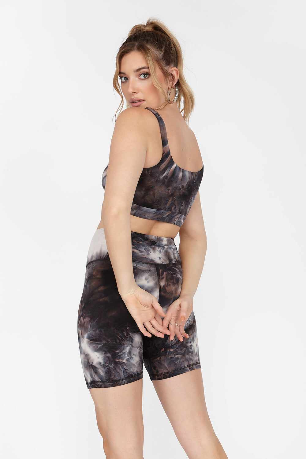 Soft High-Rise Black Tie-Dye Biker Short Black with White