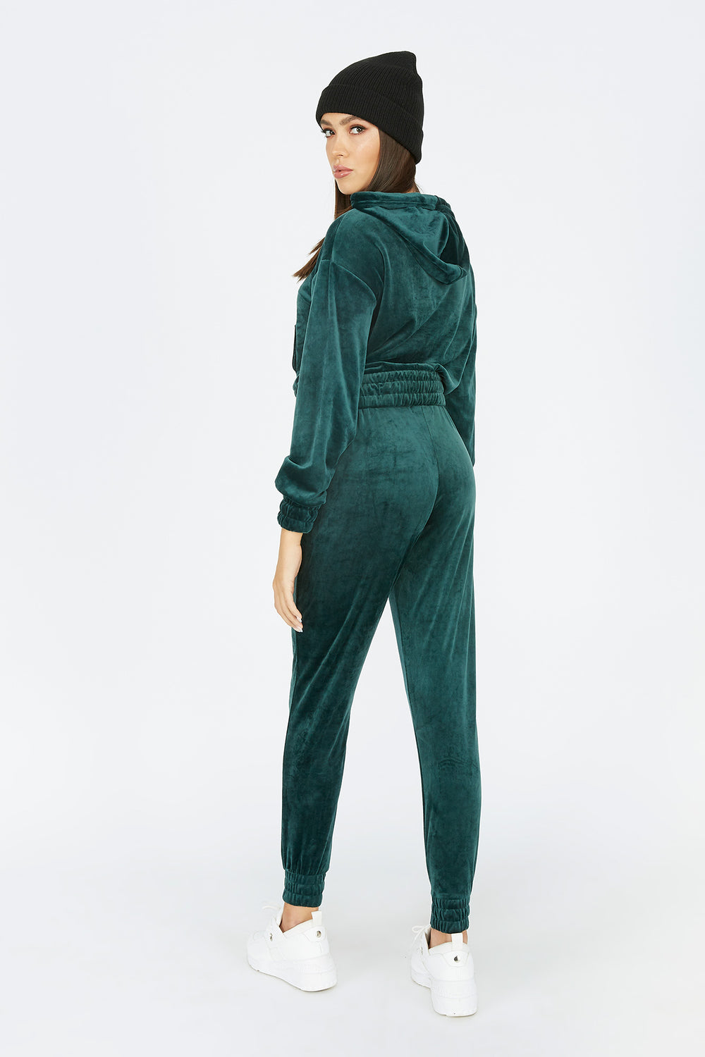 High-Rise Velour Jogger Green