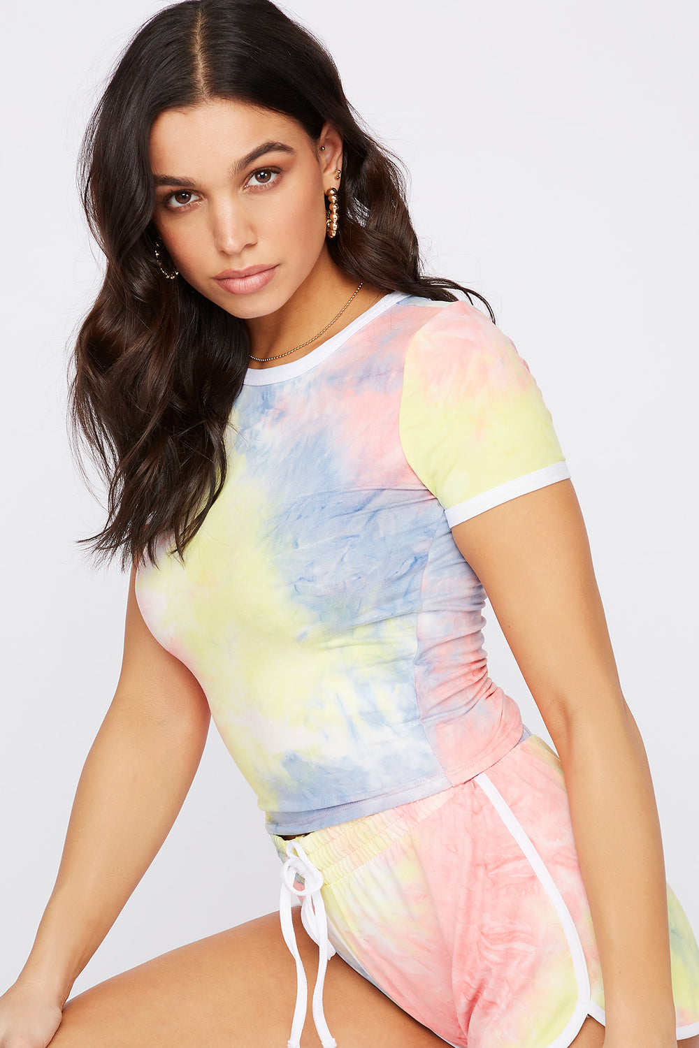 Soft Printed Cropped Ringer T-Shirt Neon Pink