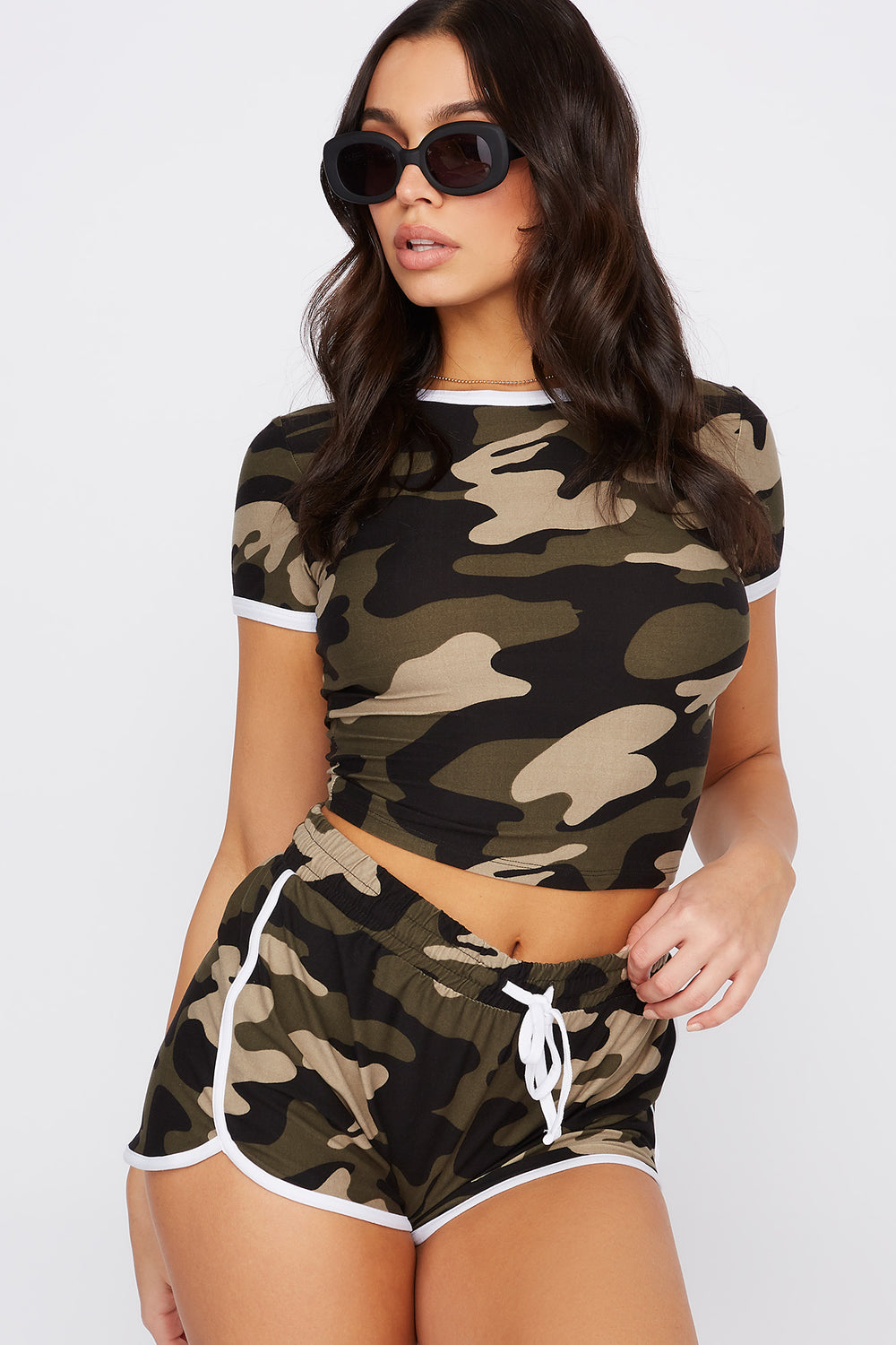 Soft Printed Cropped Ringer T-Shirt Camouflage
