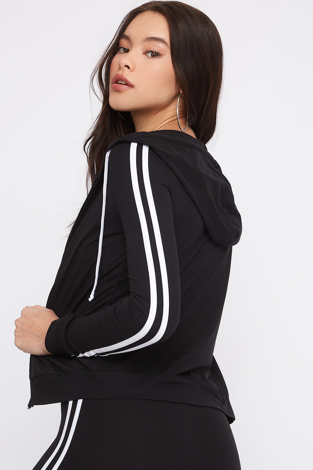 Zip-Up Side Stripe Long Sleeve Black