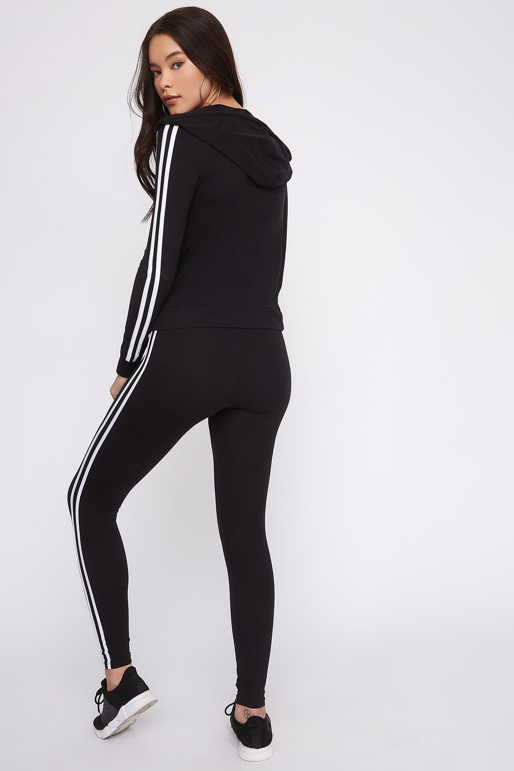 Leggings con Franja Lateral Dual Negro