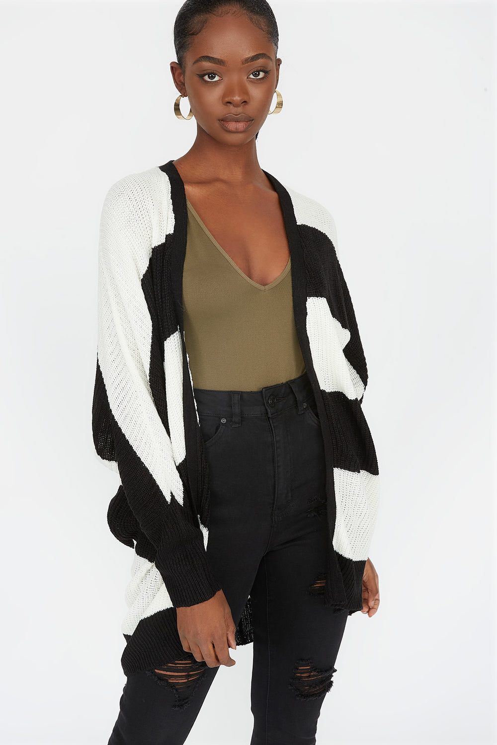 Striped Open Front Dolman Sleeve Cardigan Black