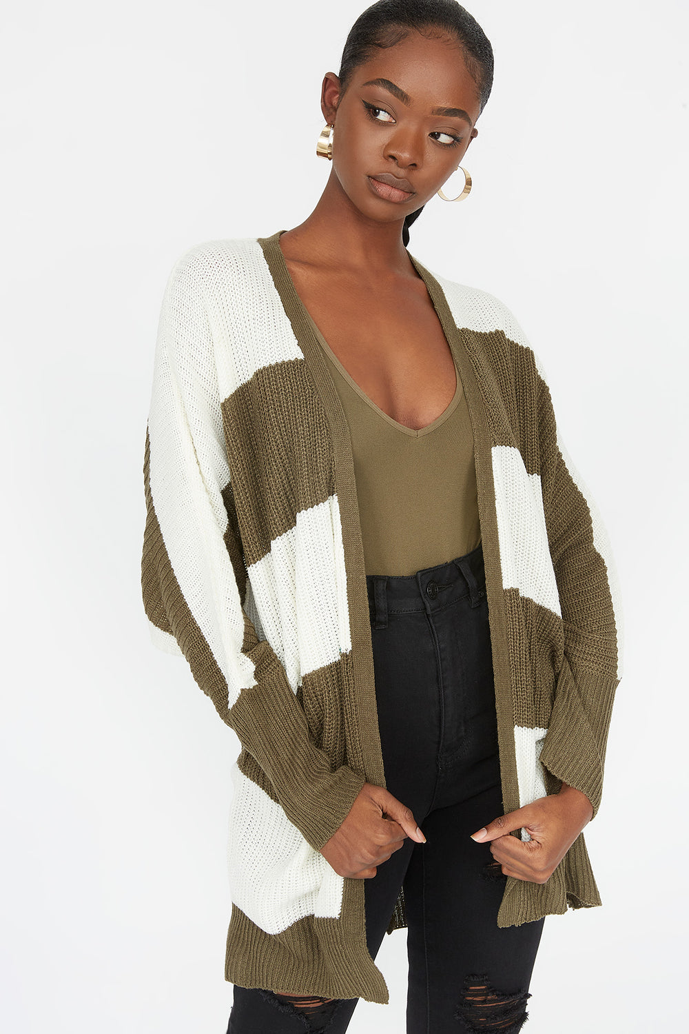 Striped Open Front Dolman Sleeve Cardigan Dark Green