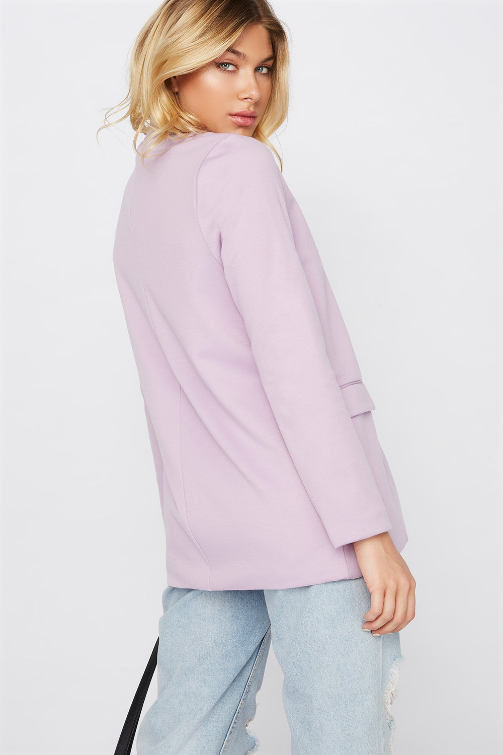 Knit Open-Front Blazer Lilac