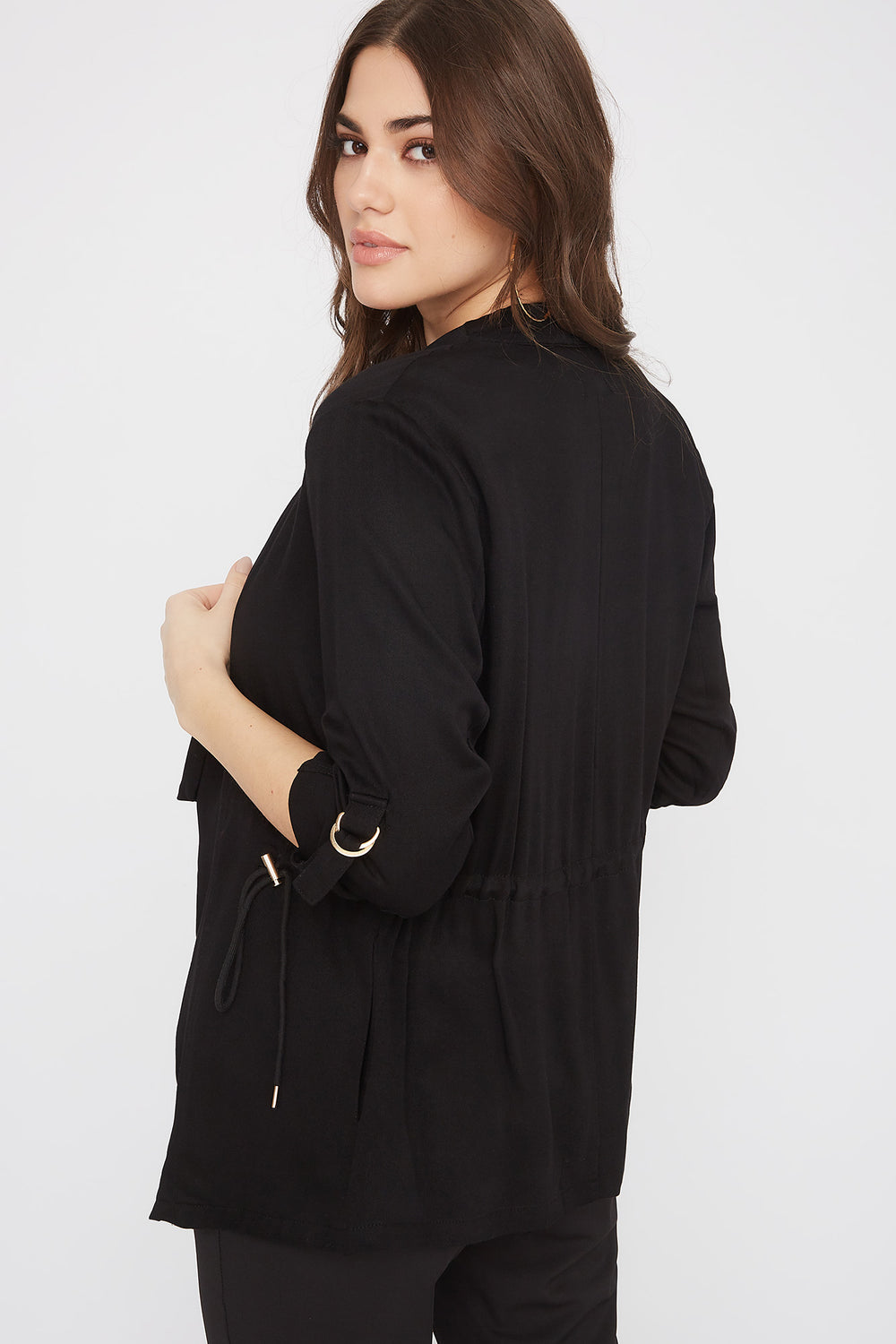 Roll-Tab Waterfall Jacket Black