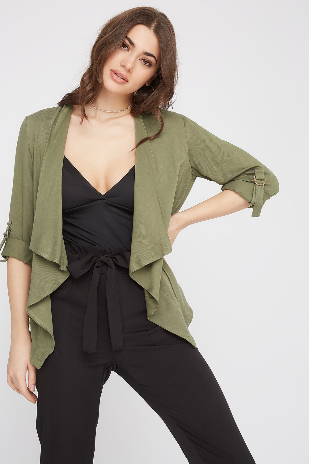 Roll-Tab Waterfall Jacket Sage