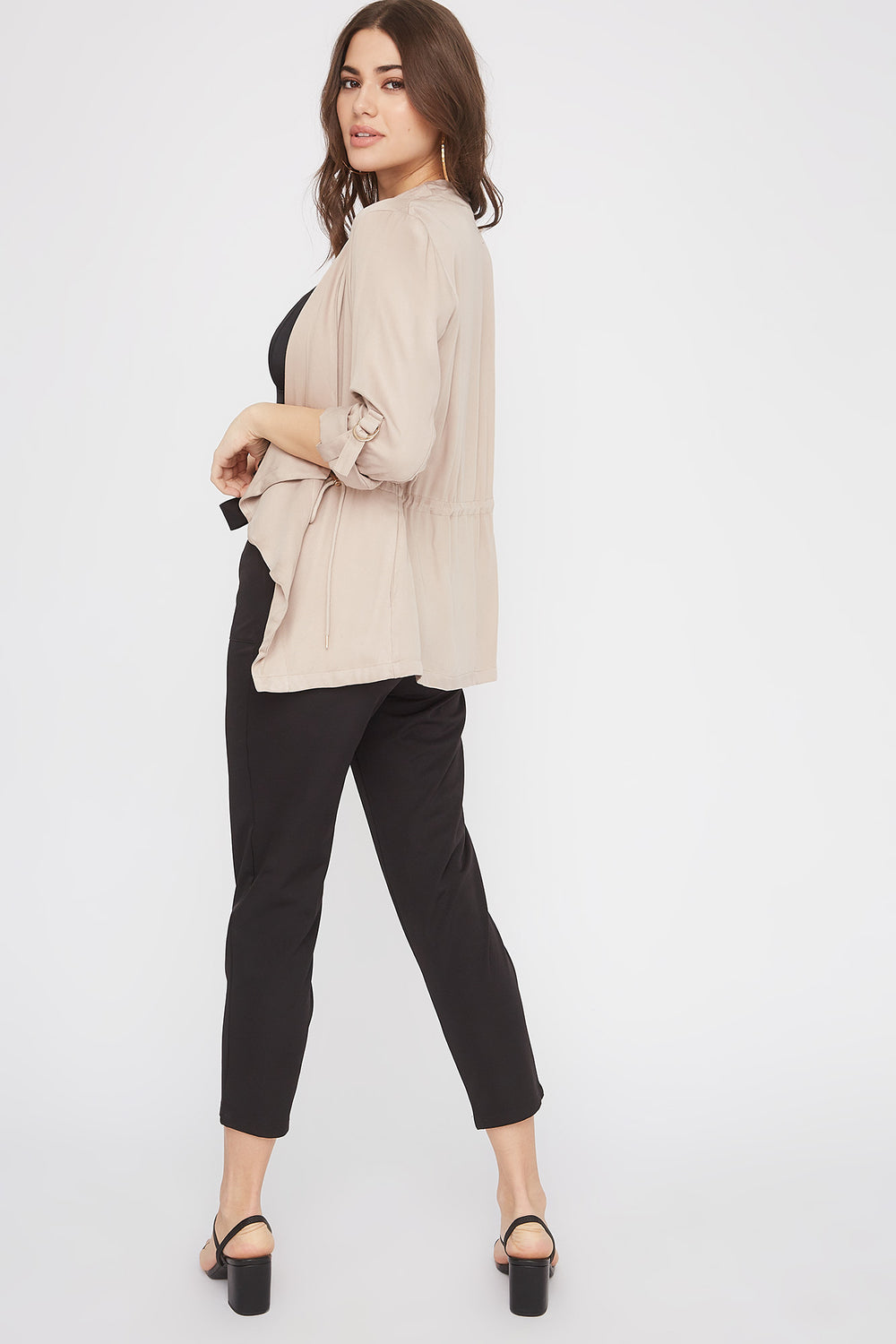 Roll-Tab Waterfall Jacket Taupe