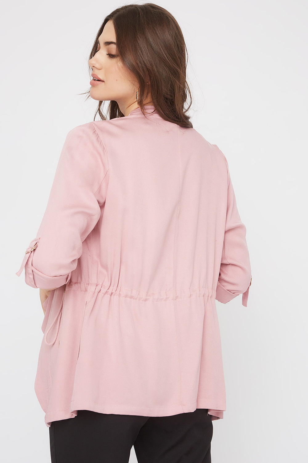 Roll-Tab Waterfall Jacket Dusty Rose