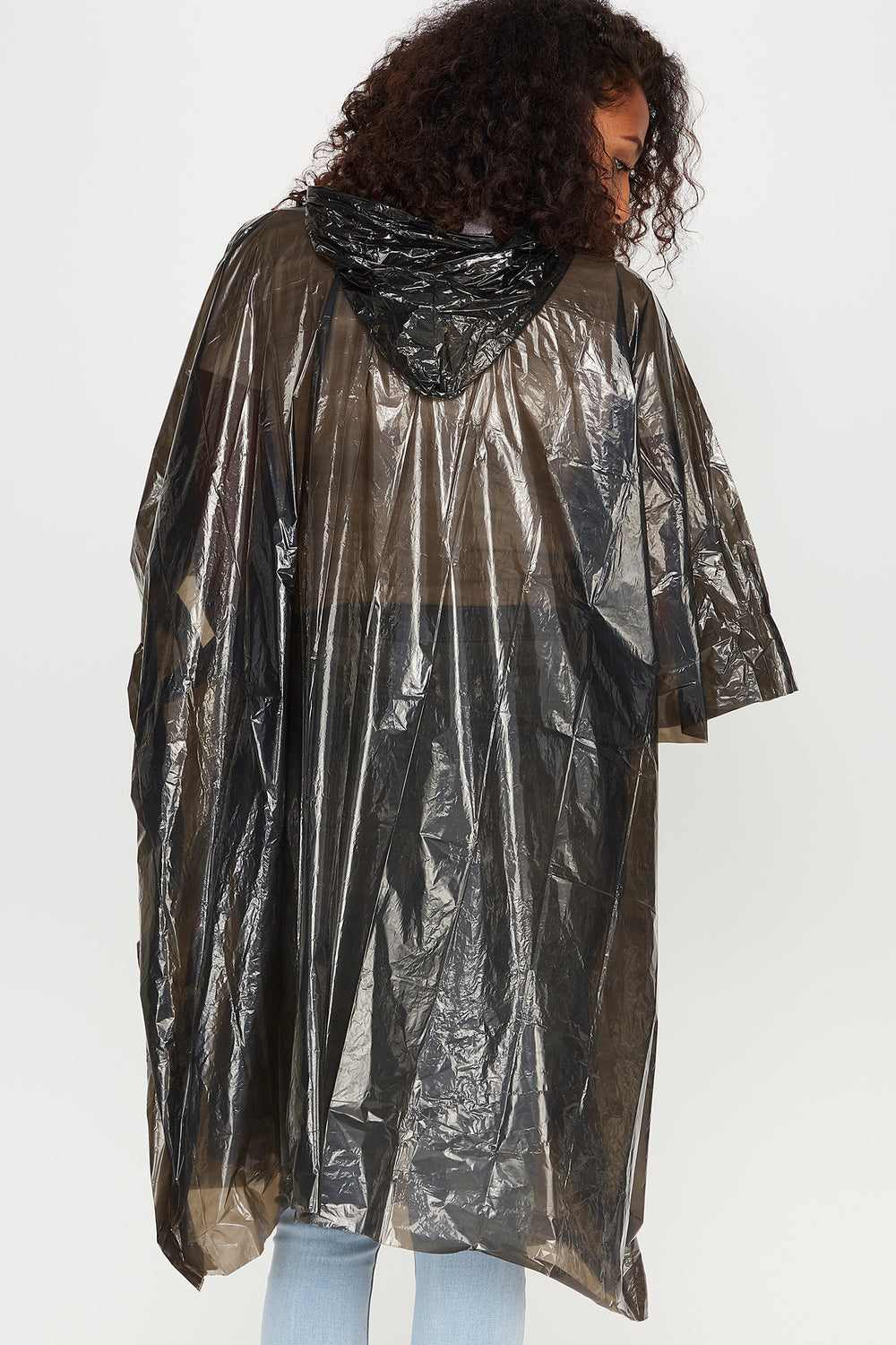 Hooded Rain Poncho Black