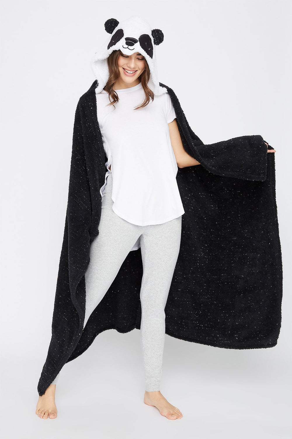 Character Hooded Blanket Black