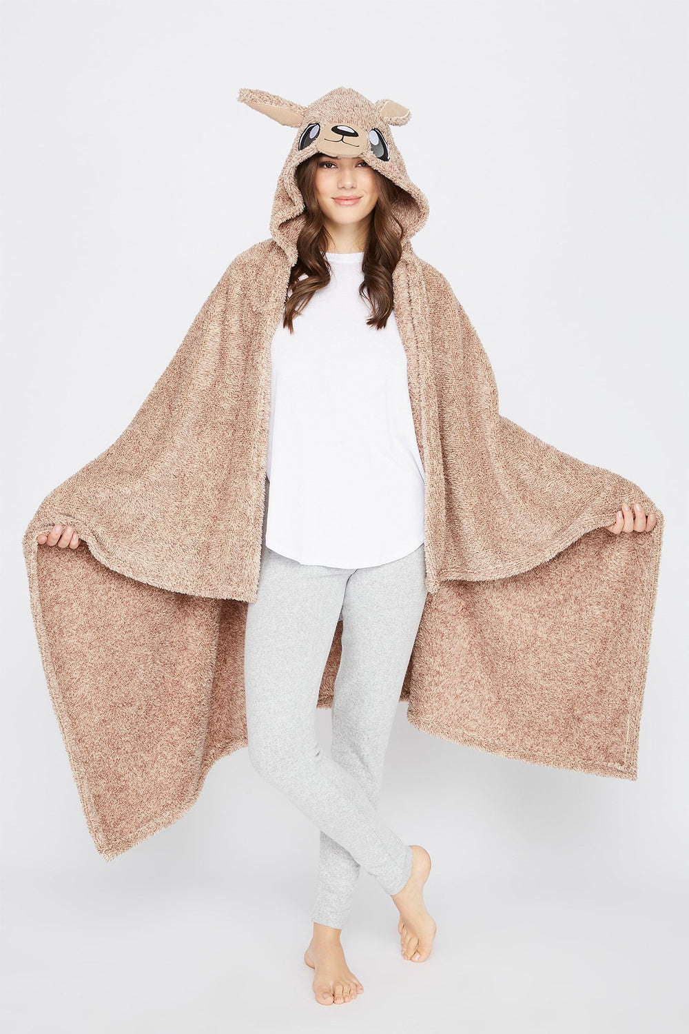 Character Hooded Blanket Brown
