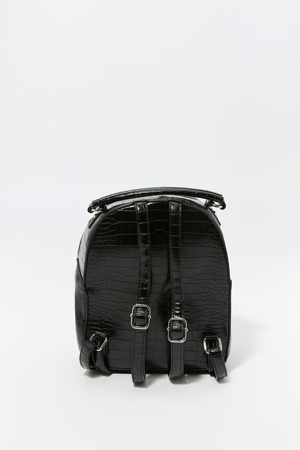 Mini Faux-Leather Crocodile Printed Backpack Black