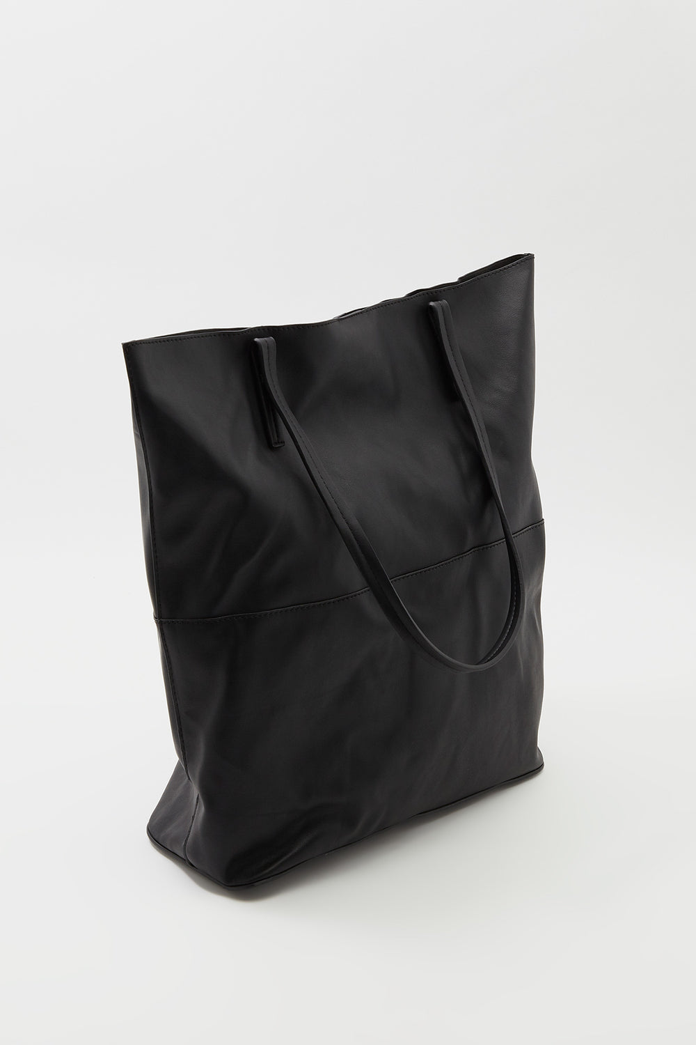 Faux-Leather Tote Bag Black