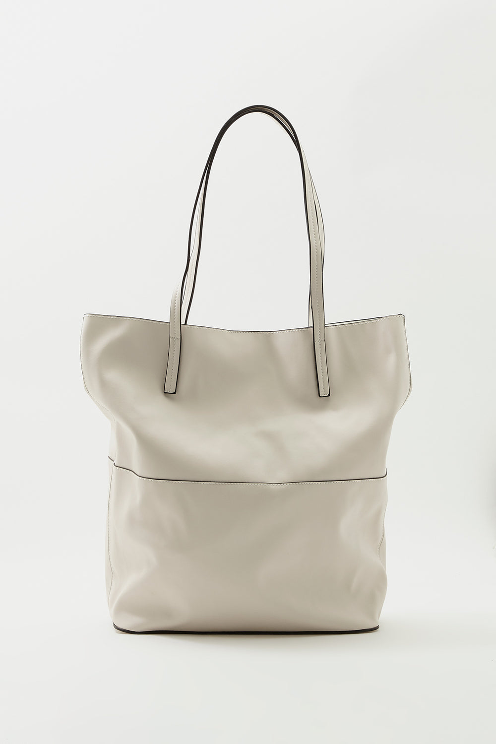 Faux-Leather Tote Bag Light Grey