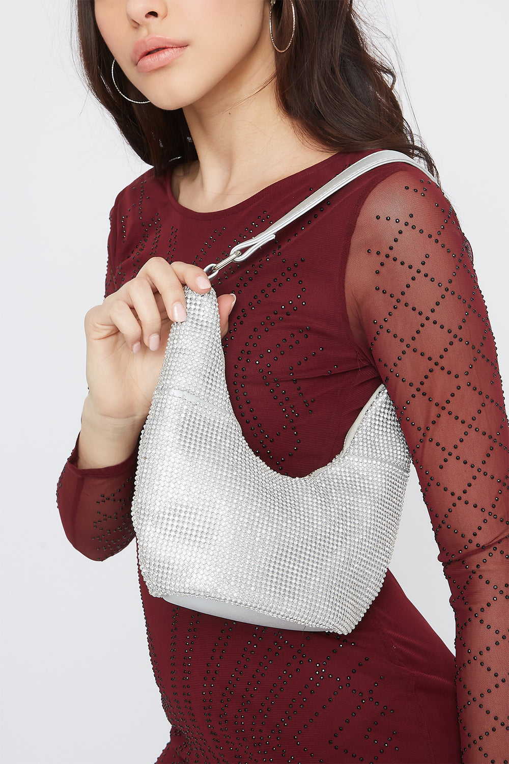 Rhinestone Shoulder Bag Silver